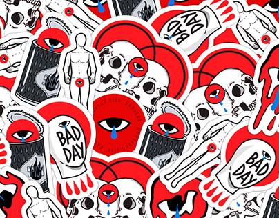 Illustration   sticker design for BADnSAD brand