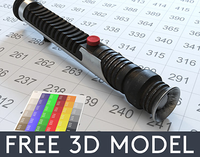 Lightsaber 4. Qui-Gon Jinn FREE 3D Model