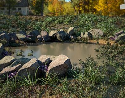 Pond Puddle 3d realism scene