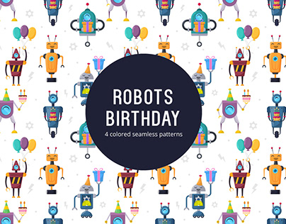 Free Vector Seamless Pattern Robots Birthday