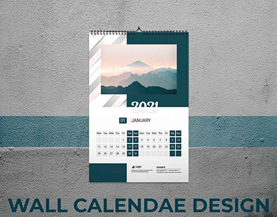 Modern 2021 wall calendar design template