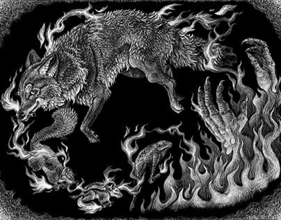 Coyote Steals Fire Book Scratchboard Illustration