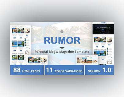 RUMOR - Personal Blog & Magazine Template