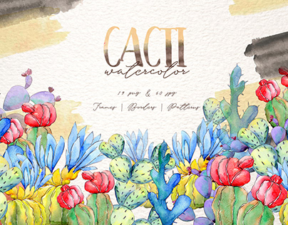 Cool colorful cacti PNG watercolor set