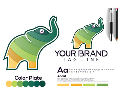 elephant modern logo design