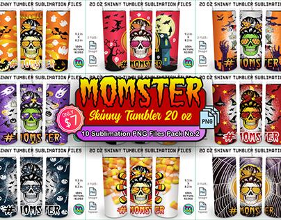 Skinny Tumbler 20 oz Mom Life Momster 10 Pack No.2