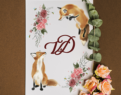 Wedding invitation with foxes