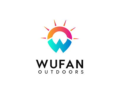 Modern W letter + Sun   Outdoor Company logo