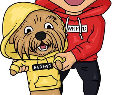 The cartoony guy and the dog