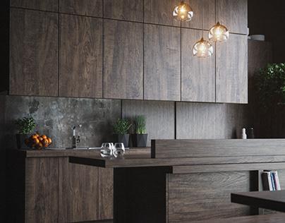 Dark Wood Kitchen