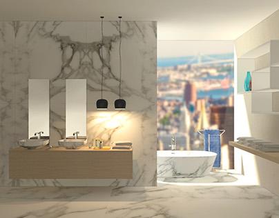 bathroom in Calacatta marble
