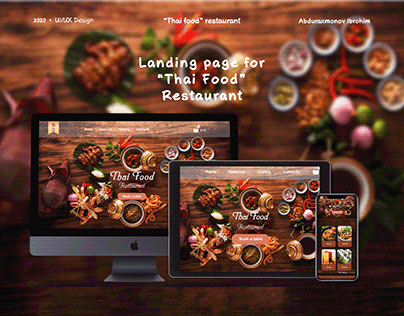 Landing page for Thai food restaurant