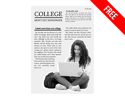 College Monthly Newspaper - free Google Docs Template