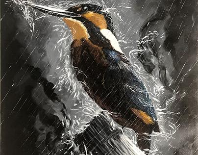 Peinture acrylique sur toile l'oiseau sous la pluie
