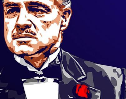 """Поп-арт. Дон Вито Корлеоне из к/ф """"Крёстный отец""""."""