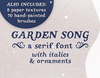 Garden Song serif font and extras
