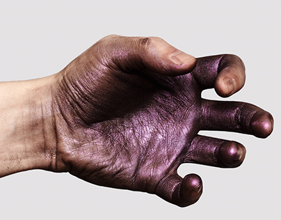 Hands and Hands Skin with glossy purple Paint