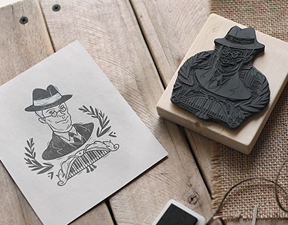A Set of Linocut Stamps for a Cafe
