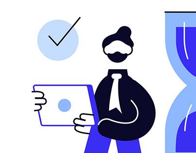 Office life illustrations set
