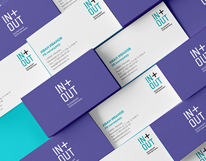 Identity for IN+OUT, out-of-home advertising company