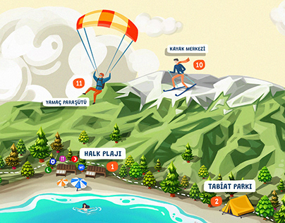 Lake Salda Map Illustration