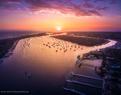 Pink Sunset at Newport, drone image