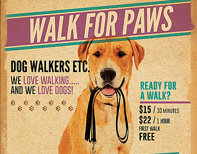dog walkers flyer template 2 on behance. Black Bedroom Furniture Sets. Home Design Ideas