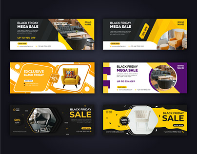 Black Friday Furniture Facebook Cover Template vol-2