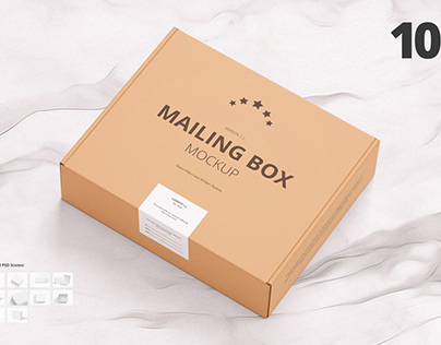 Mailing Box Mockup & Mailer Box: All scenes included!