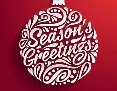 4 Holidays greeting cards with  Christmas ball