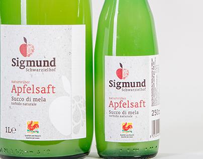 SIGMUND APFELSAFT – Packaging, POS, Branding