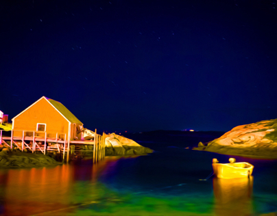Peggy's Cove at night