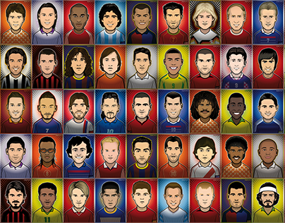 50 Legendary Football Players Portraits