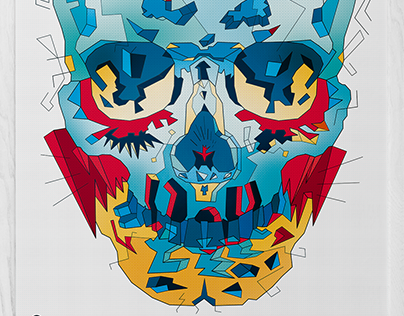 Typohole. Blue Skull. Illustration