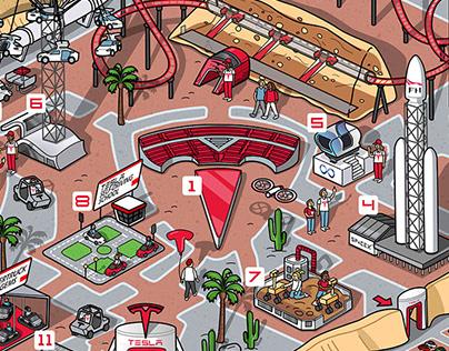 Tesla concept theme park map