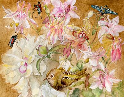Fairytale birds, mixed technique