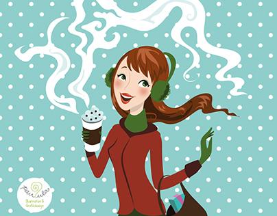 winter latte girl - Vector Illustration