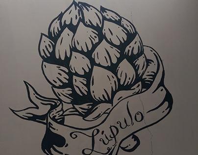 "Mural ""fabricación de cerveza"" para Zarza Brewery"