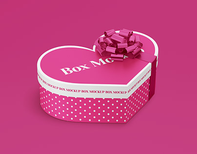 Paper Heart Gift Box Mockup in PSD