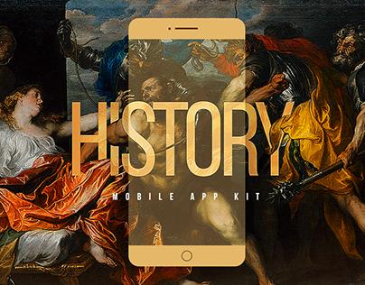 History Mobile App Kit / Free PSD