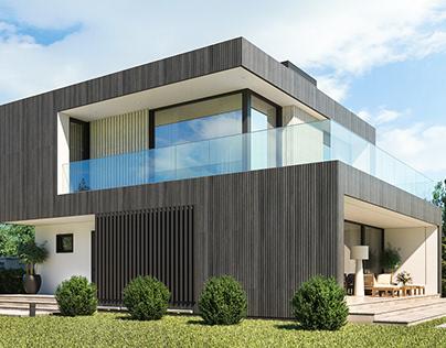 Загородный дом-куб