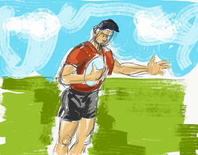 rugby player doodle