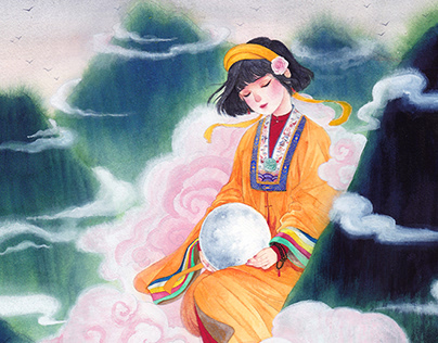 Vietnamese girls in acient costumes