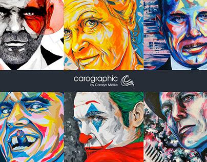 Portraits artworks #carographic by Carolyn Mielke