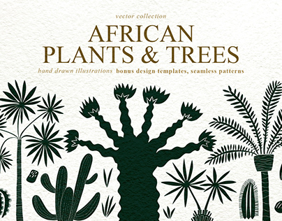 Hand Drawn African Plants Vector Collection