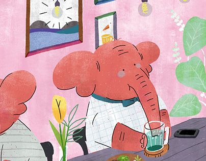 an elephant drinking juice