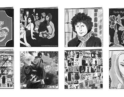 LP jackets (drawn for Japanese rock magazine)