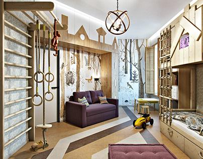 Modern interior design children's room in eco style