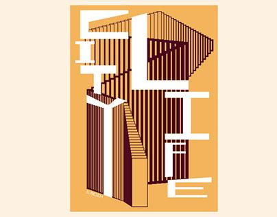 """Steve Reich """"CITY LIFE"""" 50x70 silkscreen"""