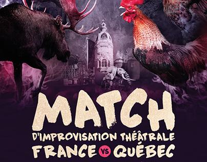 AFFICHE Match d'improvisation théâtrale FRANCE/QUÉBEC.